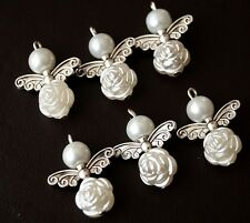 10x White Cream Angel Charms Rose Flowers Pearl Beads Silver Wings