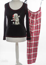 EX M&S Tatty Teddy Me To You SANTA LUXE SOFT NERO & Rosso Tartan Pigiami 12 NUOVI