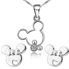 findout sterling silver hollow Mickey Mouse Cute pendant necklace + earrings ...