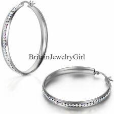 1 Pair Stainless Steel Colorful Rhinestones Hoop Earrings Women Fashion Jewelry