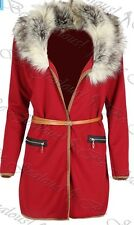 Womens Faux Fur Belted Full Sleeve Coat Blazer Cape Cardigan - Colour Red