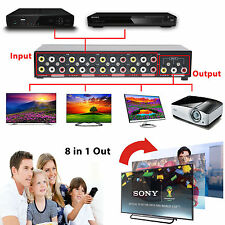 8 In 1 Out Composite Video Audio 3 RCA AV Switch Switcher Box Splitter Selector