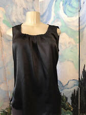 CHICO'S 1 SOLID BLACK SATIN ROUND NECK DRAPED FRONT SLEEVELESS TOP