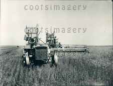 1930 Monument KS Wheat Farmer Pulls 2 Combines With 1 Tractor Press Photo
