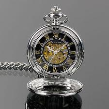 PACIFISTOR Mechanical Skeleton Pocket Watch Vintage Steampunk Silver Pendant US