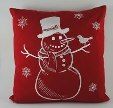"""Christmas Embroidered Pillow Cover - Snowman - 18"""" x 18"""" - Red"""