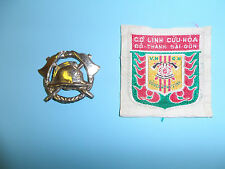 z95 RVN Vietnam Saigon Fire Rescue Department Cap Badge & Sleeve Shield patch