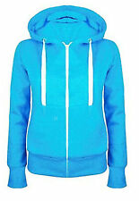 New Ladies Women Plain Zip Up Fleece Hoody Sweatshirt Coat Jacket Top Hoodies