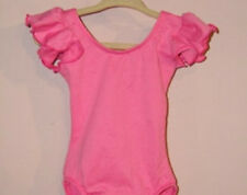 Body Wrappers 1529 Girls Large (12-14) Pink Chiffon Ruffle Sleeve Leotard-DEFECT
