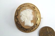 ANTIQUE GILT CARVED SHELL CAMEO BROOCH c1900s