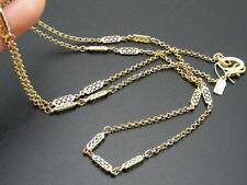 "$18 Rachel Fancy Link Station Necklace 37"" Long Chain Strand Goldtone Metal"