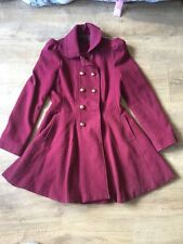 New Look Womens Burgandy Military Style Double Breasted Coat Size 12