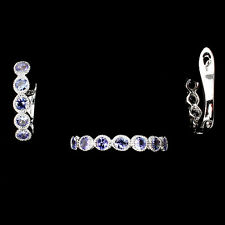 DELUXE NATURAL ROUND 3mm TOP NICE BLUE VIOLET TANZANITE STERLING 925 SILVER SET