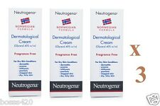3 x NEUTROGENA DERMATOLOGICAL CREAM FOR DRY SKIN NORWEGIAN FORMULA 100ML EACH