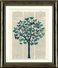 Antique Book page Art Print -   Turquoise Butterfly Tree Illustration