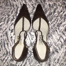 Salvatore Ferragamo T-Strap Pointed Toe Pumps Heels Brown Leather Size 9.5