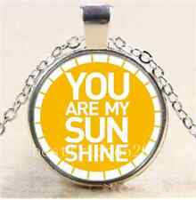 You Are My Sunshine Photo Cabochon Glass Tibet Silver Chain Pendant Necklace#362