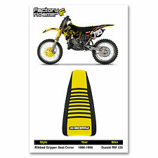 1996-1998 SUZUKI RM 125 Black/Yellow/Black RIBBED SEAT COVER BY Enjoy MFG