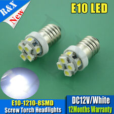 2X Lamp LED Bulb DC12V White MES E10 1447 3528 8SMD Screw for Torch bike bicycle