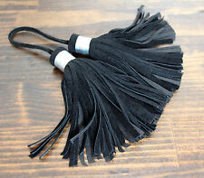 "2IN1 HANDMADE MURKA BLACK LEATHER SUEDE TASSEL FRINGE PURSE BAG 4.5"" LONG CHARM"