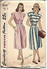 ^Simplicity Vintage SEWING Pattern 1940's Misses One Piece Dress 2018 16 OOP SEW
