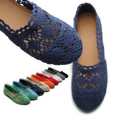 ollio Womens Ballet Loafers Floral Lace Slip-on Shoes Flats
