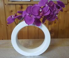 Pink Purple Artificial Orchid Flower arrangement in Oval White Vase
