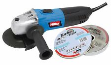 "HILKA 600W 4.5"" 115mm ELECTRIC ANGLE GRINDER CUTTING TOOL IN BOX 240V & 10 DISCS"