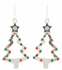 Zest Christmas Tree Earrings with Baubles for Pierced Ears Silver Look
