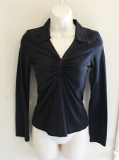 MY MICHELLE Black LS Pullover Top w Shiny Collar Size M Juniors PreTeen XS Adult