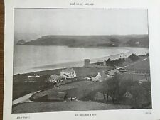 Antique 1903 St Brelades Bay & Church JERSEY CHANNEL ISLANDS Photograph Print