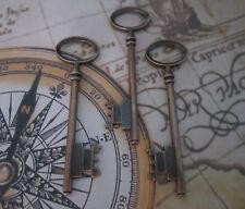 3x steampunk cuivre antique squelette clefs mariage vintage pendentifs breloques