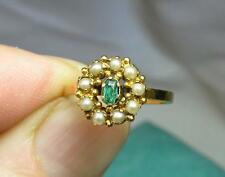 Victorian Emerald Pearl Ring Antique Wedding Engagement Jackie Kennedy Gold 1880