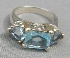STERLING WOMAN'S RING SIZE 6 LARGE LIGHT BLUE TOPAZ 3 STONES, EXCELLENT COND