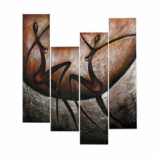 Elegant African Dancers Modern Abstract Wall Art Canvas With Frame Oil Painting