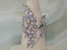 925 Silver plated wide baguette ring ,Dazzling wedding jewellery,exaggerated