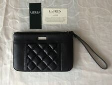 Ralph Lauren Women's Black Leather Zipped Cosmetic Wristlet/ Bag