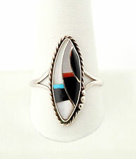 Vtg Sterling Silver Inlaid Turquoise Zuni MOP Onyx Ring sz 11