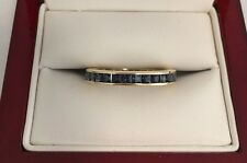 Eternity Band 14K Yellow Gold Blue Sapphire Ladies Ring Size 7