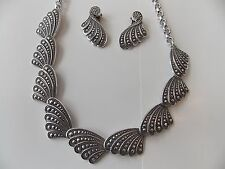 Vintage Necklace & Clip Earrings- Eloxal Aluminum w/Faux Marcasites-W.Germany