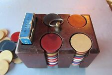 Vintage Wooden Miniature Poker Chip Carrier with over 100 Chips