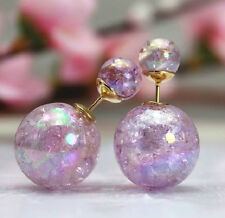NEW PURPLE DOUBLE PEARL SHINY IRREDESCENT BALL BEAD STUD EARRINGS