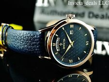 Invicta Men's 40mm Vintage Japanese Quartz Navy Blue Dial Leather Strap Watch