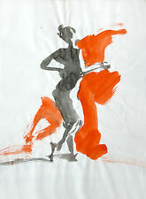 Sumi Ink Nude Female Figure Watercolor by Keith Gunderson