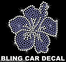 Hibiscus Flower Hawaiian Floral Purple Rhinestone Bling Car Decal Sticker 50-16