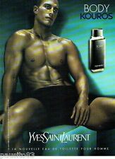 PUBLICITE ADVERTISING 116  2001  Kouros body  eau toilette homme Yves Saint Laur