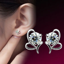 Cute Crystal Rhinestone Ear Stud Butterfly Earrings Womens Silver Plated Wedding
