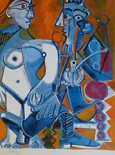 PABLO PICASSO nude and man with pipe plate signed HAND NUMBERED LITHO gouache