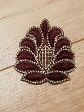 gold brown embroidery hotfix patch lace applique  dance dress costume decor