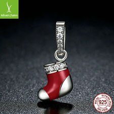 Authentic 925 Sterling Silver Christmas Santa Claus Socks Charms Beads